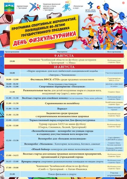 Программа спортивных мероприятий, посвященных празднованию 80-летия ДНЯ ФИЗКУЛЬТУРНИКА